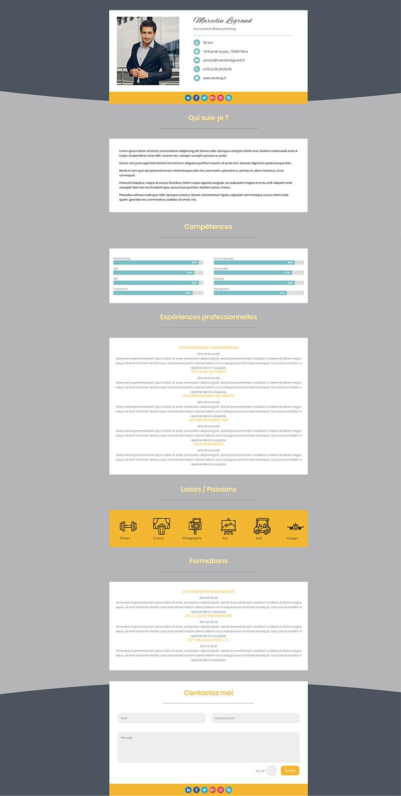 template divi gratuit CV #1